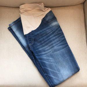 Straight denim jean ankle capri maternity pants